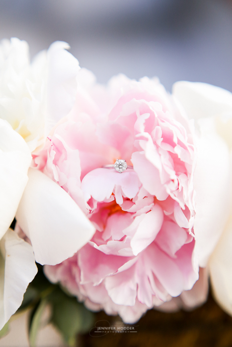 Kelowna wedding with peony‬ engagement ring shot
