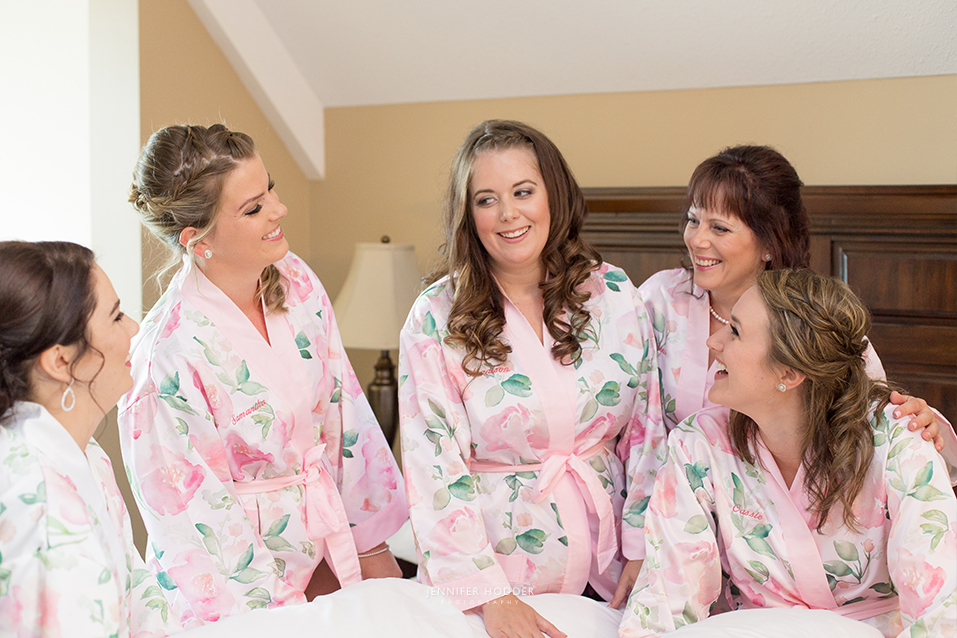 Pink and white silk robes