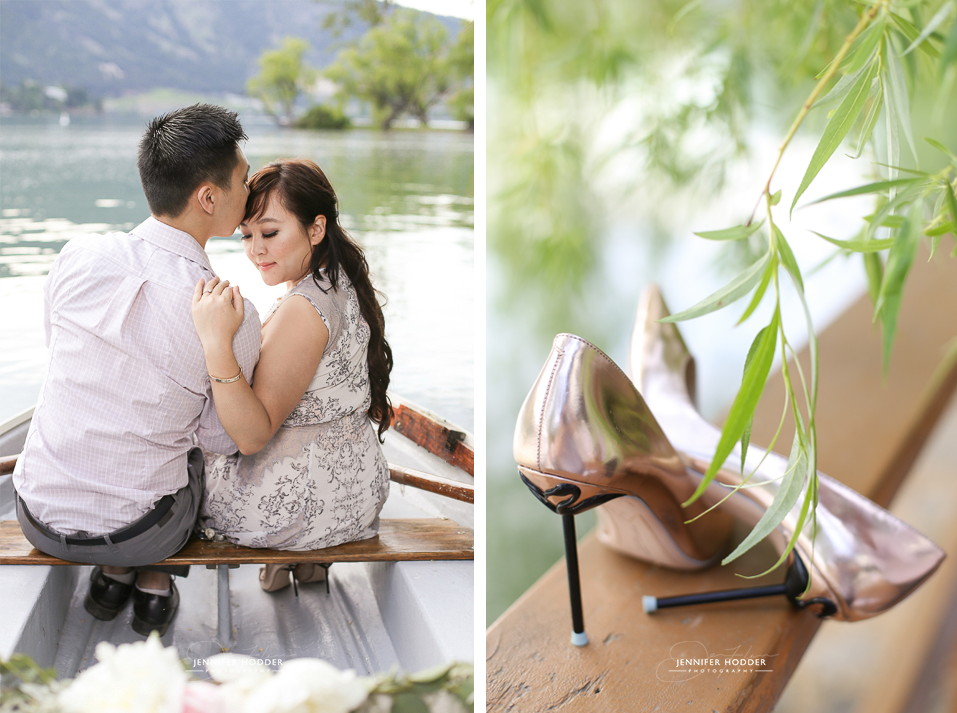 Engagement photography vintage rowboat