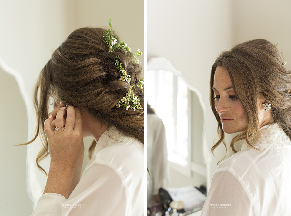 boho bride getting ready photos