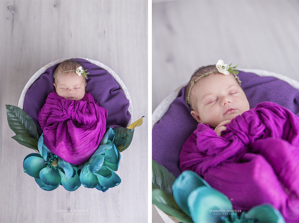 purple newborn setup