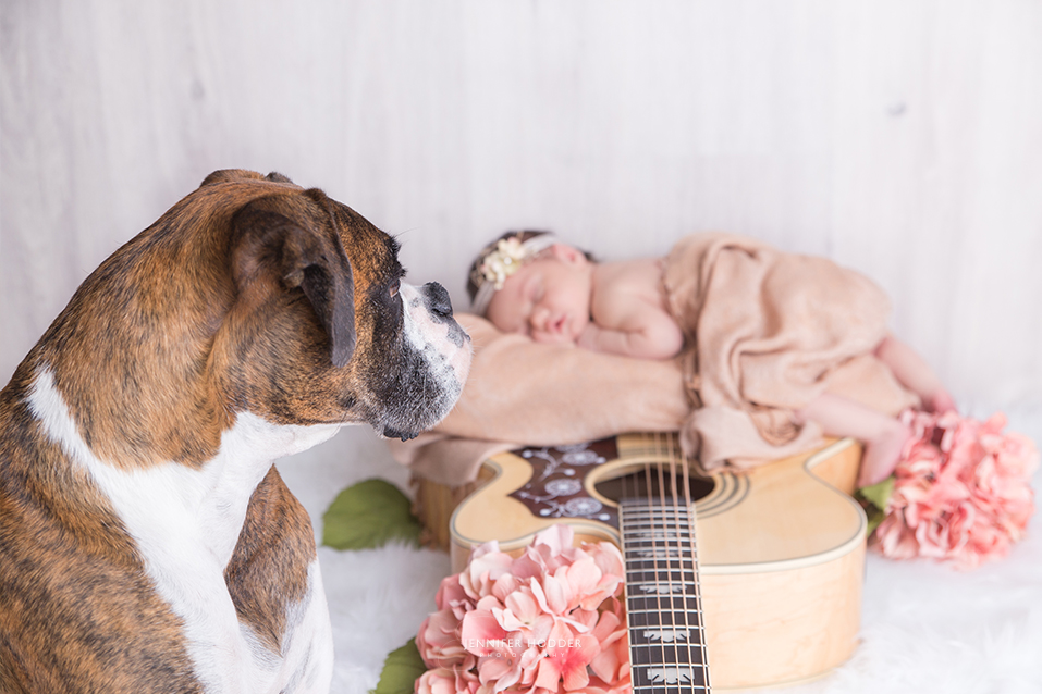 newborn baby with guitar & dog