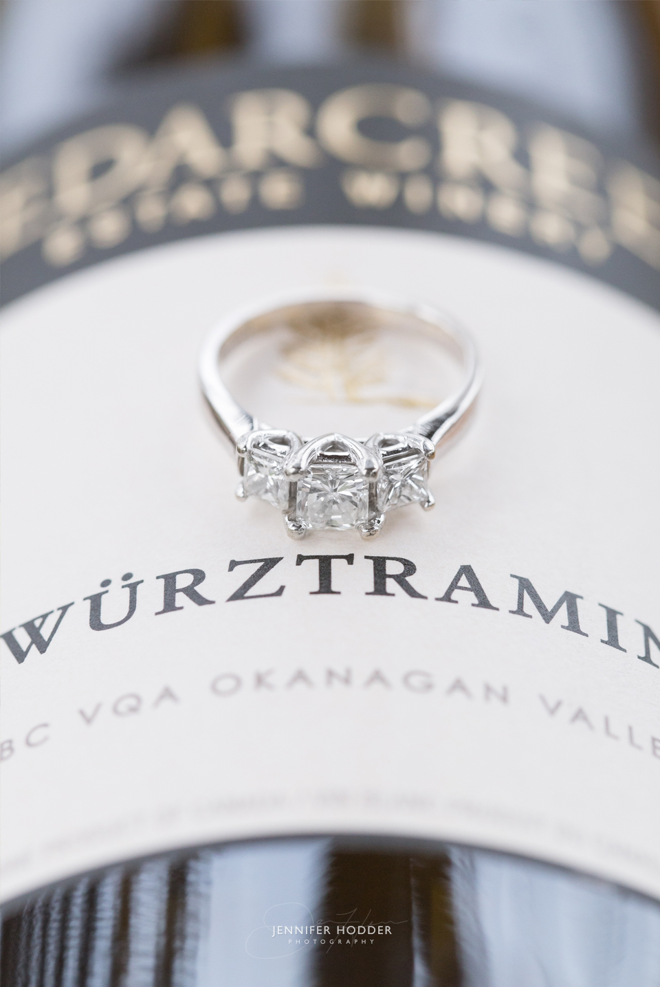 Cedar Creek gewurztraminer and engagement ring