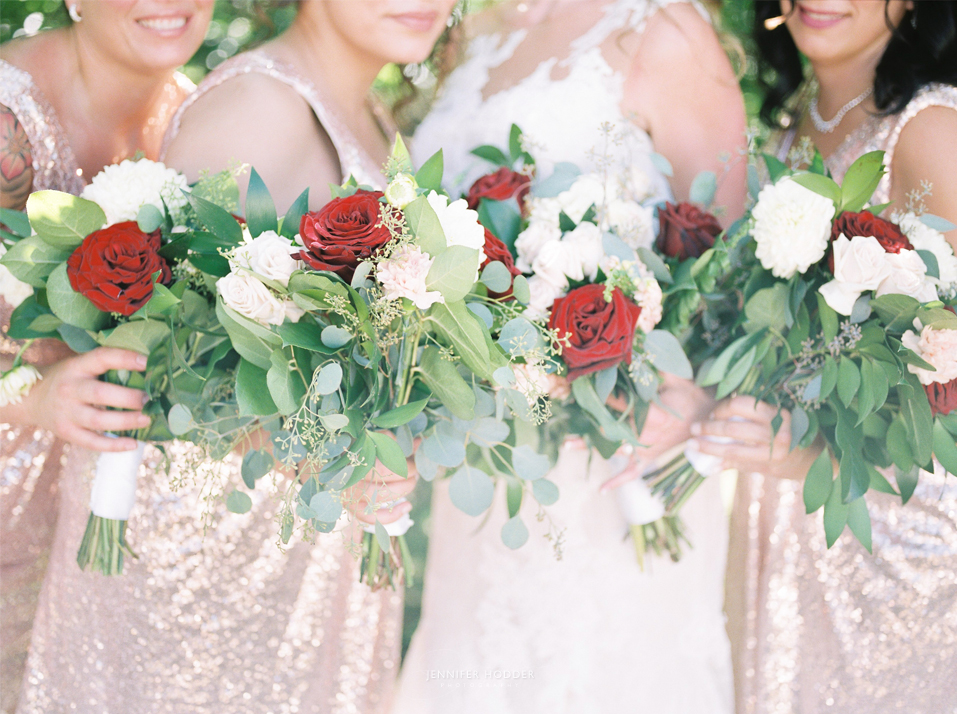 Osoyoos wedding with rose gold bridesmaid dress