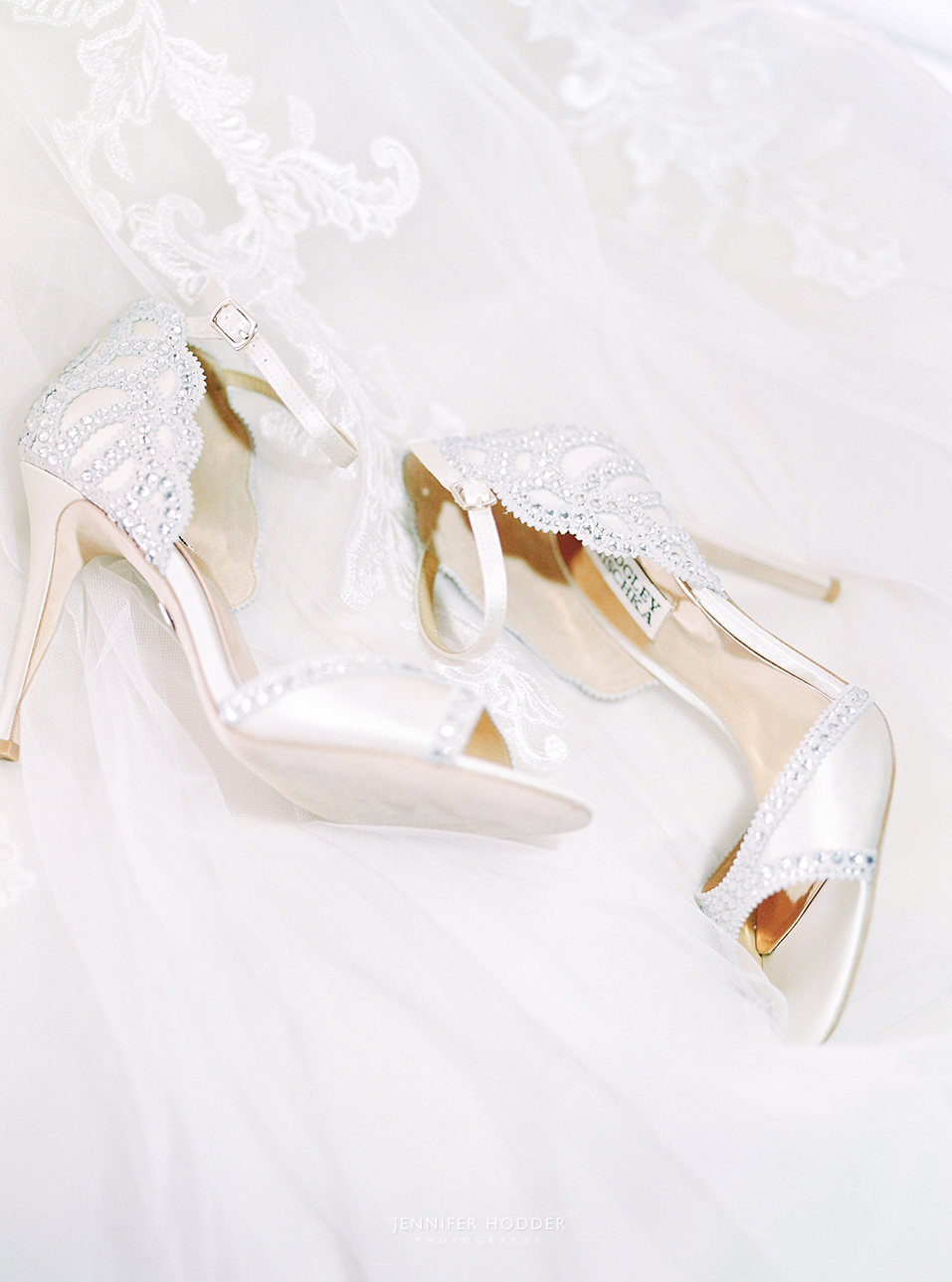 Badgley Mischka peep toe wedding shoe