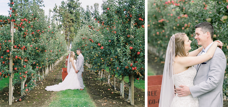 Kelowna apple orchard fall wedding