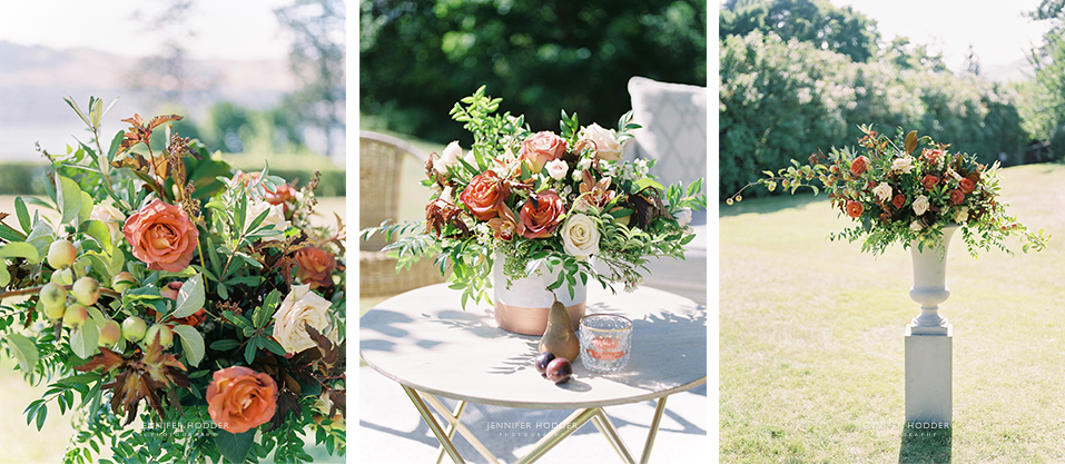 Fine art film wedding orange florals