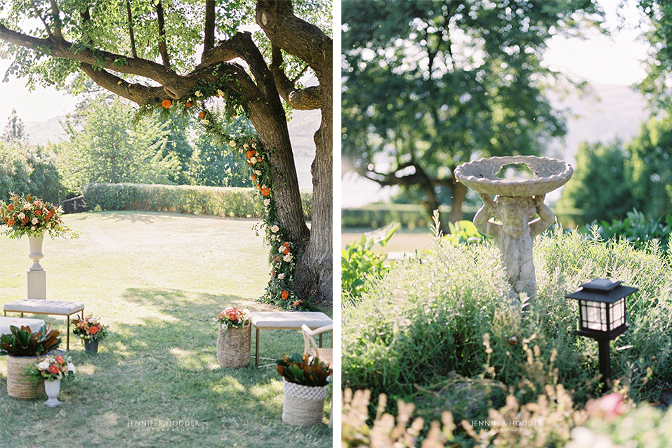 tree arch florals Mackie Lake House Vernon wedding photographer