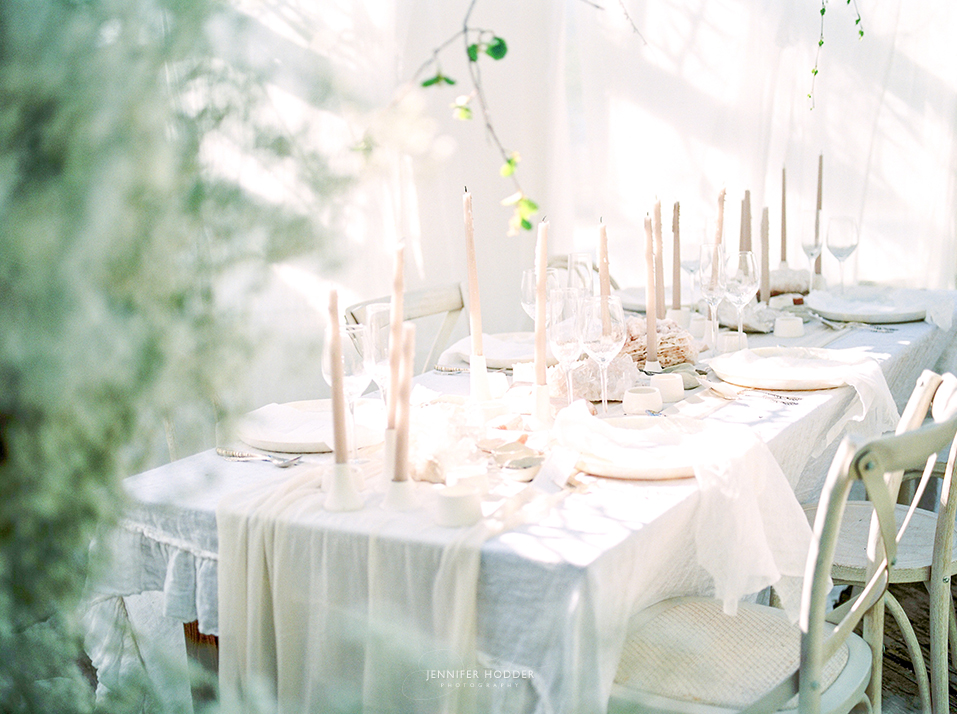 Romantic white wedding tablescape