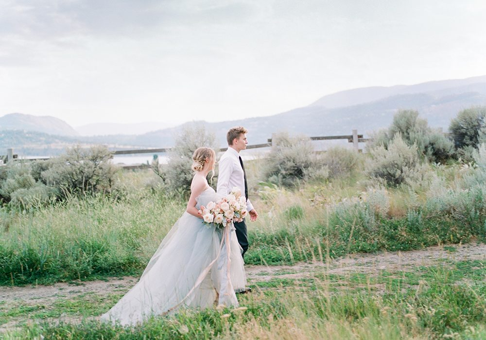 Blush pink and blue tulle