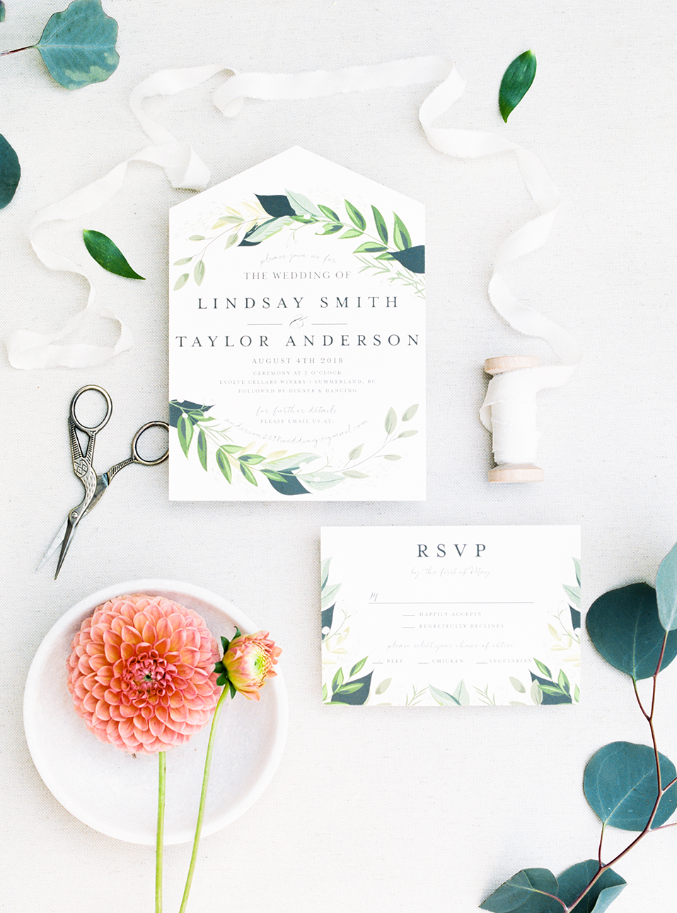 Green & white fine art wedding invitation