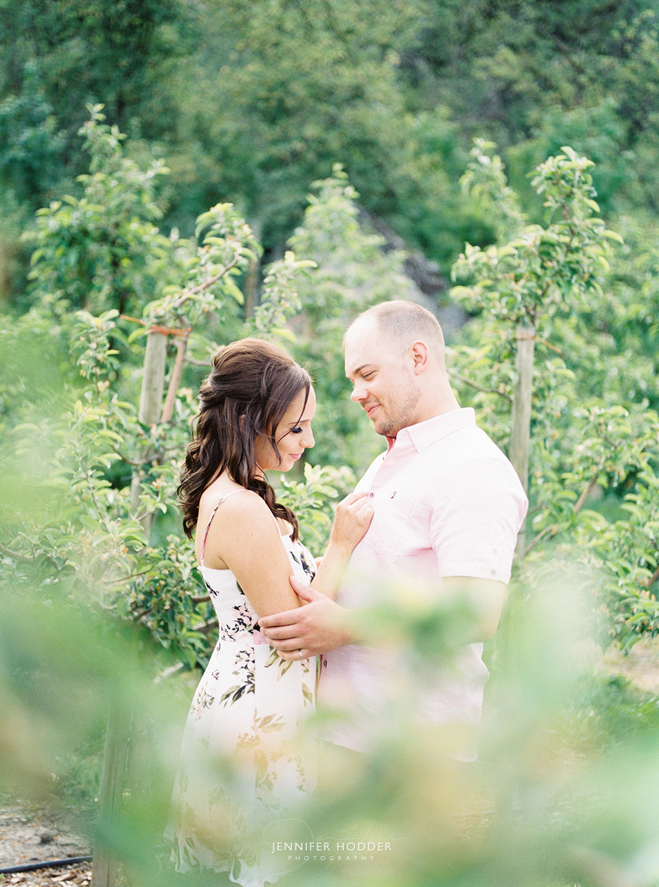 Fine art film orchard engagement session in Vernon BC