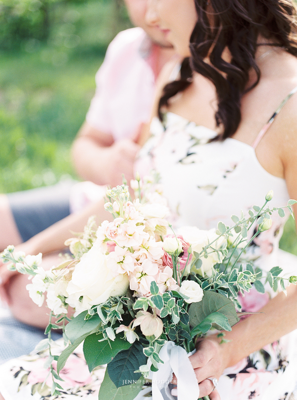 Spring orchard engagement with blush & cream bouquet