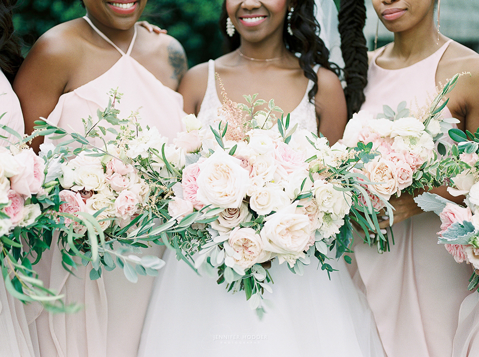 Romantic blush white pink wedding bouquet