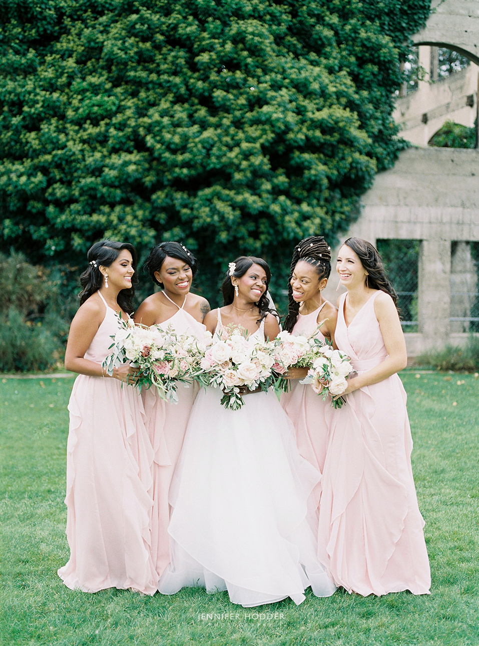 Mix and match pink bridesmaids dresses